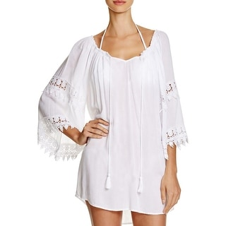 f34329e077 Shop Surf Gypsy Womens Crochet Trim Open Back Dress Swim Cover-Up - Free  Shipping Today - Overstock - 16405535