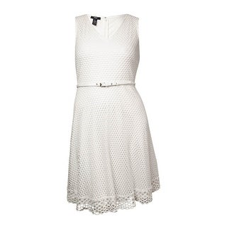Alfani Women's Belted V-Neck Eyelet Lace Dress - Bright White
