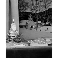 USA Christmas Window Scene with Santa Claus Candle Poster Print -