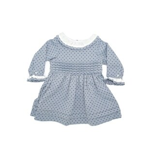 Coquelicot Girls Blue Contrast Collar Stylish Pleated Dress