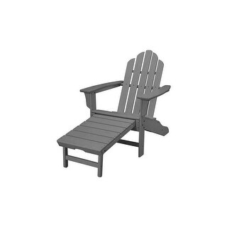 Hanover Outdoor HVLNA15GY All-Weather Contoured Adirondack Chair with Hideaway Ottoman- Grey