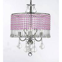 3-light Chandelier With Pink Crystal Shade