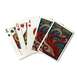 Friday Harbor, San Juan Island, Washington - Octopus Mosaic - Lantern Press Artwork (Poker Playing Cards Deck)