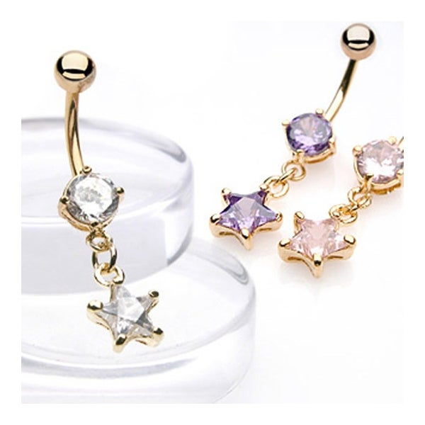 gold-plated Navel Ring With Star-Shaped CZ Dangle
