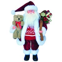 "15"" St. Nick with Red Ski Sweater and Teddy Bear Christmas Figure"