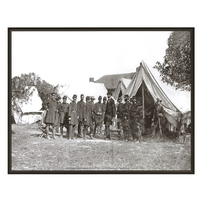 """President Abraham Lincoln with General George McClellan, Antietam, MD, 1862"" by Anon Military Art"