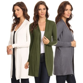 3 Pack Women's Long Cardigan Open Front Small to 3XL Made in USA: GUNMETAL/IVORY/OLIVE