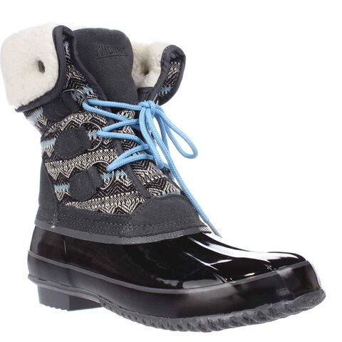 Khombu Jenna Fleece Lined Mid Calf Winter Boots, Grey/Black