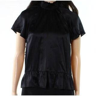 Rachel Zoe NEW Black Womens Size 0 Smocked Mock Neck Ruffled Blouse