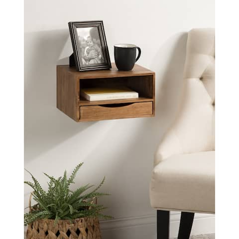 Kate and Laurel Hutton Floating Wall Shelf with Drawer - 12.5x10x7