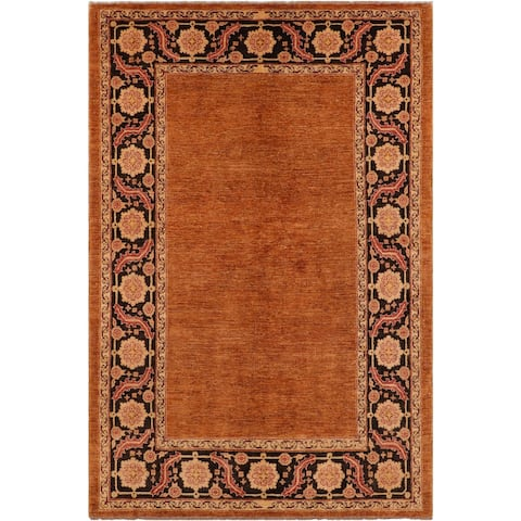 Contemporary Ziegler Shira Rust/Brown Hand knotted Rug - 5'4 x 8'1 - 5 ft. 4 in. X 8 ft. 1 in.