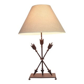 Cast Iron Old West Style Triple Arrows Table Lamp 26 Inches High - Brown