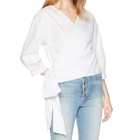 Kensie Bright White Womens Size Large L Wrap Top Surplice Blouse