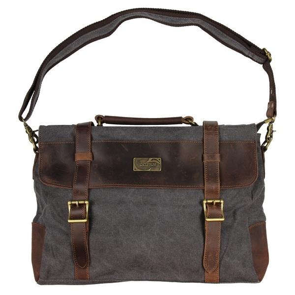a09b569f02 Gootium Canvas Leather Messenger Bag Vintage Shoulder Bag 14-Inch Laptop  Briefcase