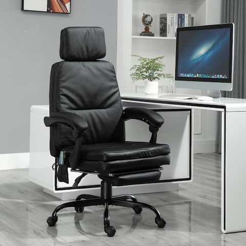 Vinsetto 6-Point Vibration Massaging Office Chair with High Back, Height Adjustable, Padded Seat and Wheels