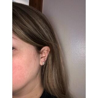 DaVonna 14k White Gold Round White Japanese Akoya High Luster Pearl and 1/10ct TDW Diamond Stud Earrings