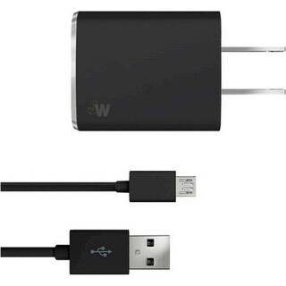 Just Wireless 705954044703 Micro USB Cord With Wall Charger - (Refurbished)