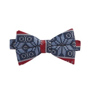 Celebrate Shop Snowflake and Reindeer Blue and Red Pre-Tied Butterfly Bow Tie