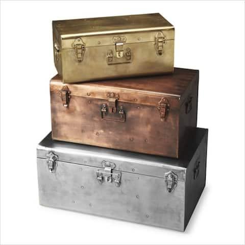 Modern Hors D'oeuvres Rectangular Iron Storage Trunk Set - Assorted