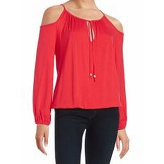 Michael Kors NEW Red Women's Size XL Cold-Shoulder Drawstring Knit Top