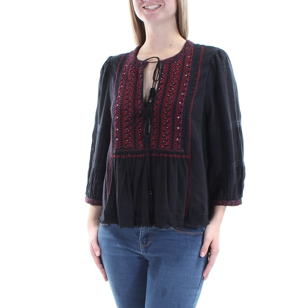Junior Size Love by Design Junior Woman/'s Off the Shoulder Embroidered Top L