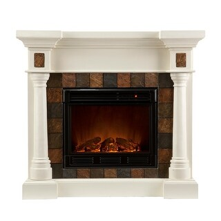 Southern Enterprises FE8749 Carrington Faux Slate Convertible Electric Fireplace - Ivory