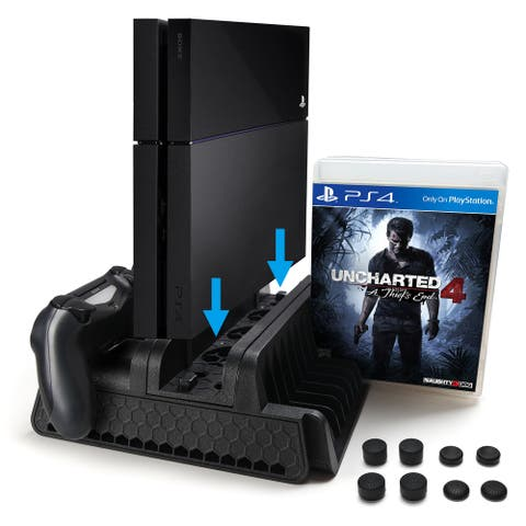 AGPtek PS4 Vertical Stand with Cooling Fan, Dual Controllers Station with 12 Game Storage Slots, 2 Port USB Hub & 8 Bonu - M