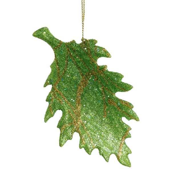 "5"" Green And Gold Glitter Leaf Christmas Ornament"