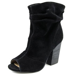Chinese Laundry Break Up Women Peep-Toe Suede Black Ankle Boot