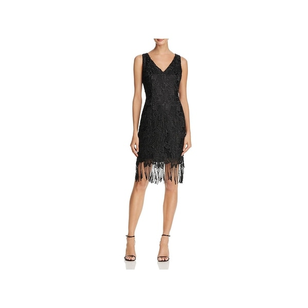 Adrianna Papell Womens Party Dress Lace Fringe