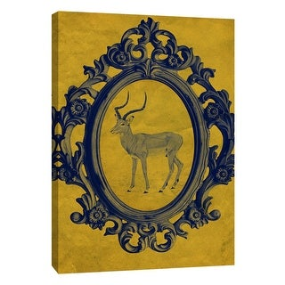 """PTM Images 9-105885  PTM Canvas Collection 10"""" x 8"""" - """"Framed Gazelle in Yellow"""" Giclee Animals Art Print on Canvas"""