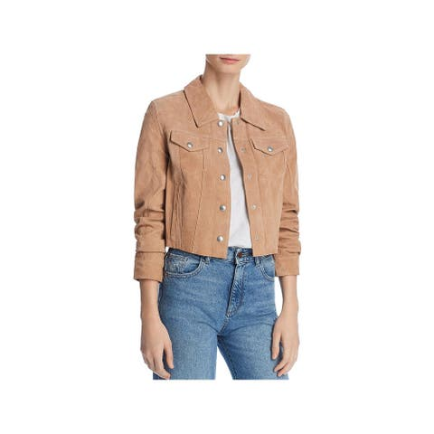 [BLANKNYC] Womens Trucker Jacket Suede Leather - Hazelnut