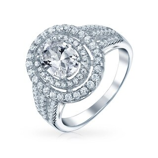 Bling Jewelry .925 Silver Triple Row Pave CZ Split Band Engagement Ring