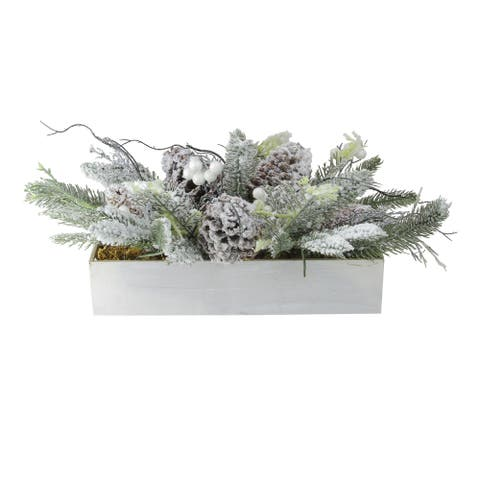 "19.5"" White and Green Flocked Berries with Foliage Filled Decorative Christmas Tabletop"