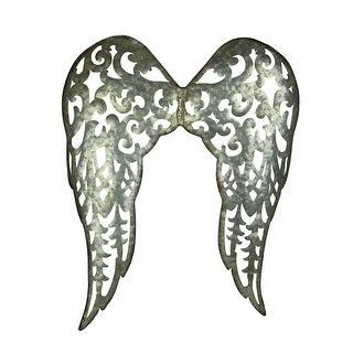 Galvanized Metal Rustic Filigree Angel Wings Wall Sculpture