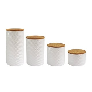 American Atelier 4 Piece Diamond Embossed Canister Set
