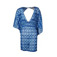 Jessica Simpson Women's Keyhole Ikat Caftan Swim Cover - Navy Multi