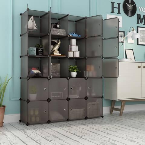 LANGRIA 20 Cube Organizer Stackable Plastic Cube Storage Shelves (Transparent Brown)