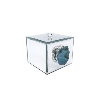 American Atelier Agate Mirrored Decorative Box, Silver