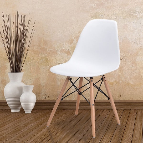 Costway Dining Side Armless Accent Chair Molded Plastic Seat Eiffel Wood Legs White