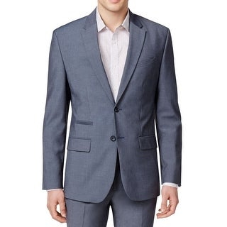 Calvin Klein NEW Loyalty Blue Mens Large L Slim-Fit Two Button Blazer