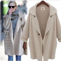 Stylish Womens Knitted Cardigan Sweater Coat - Beige