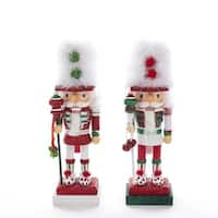 Pack of 2 Red and Green Nutcrackers with Feather Hats Christmas Decorative Figurine 11""