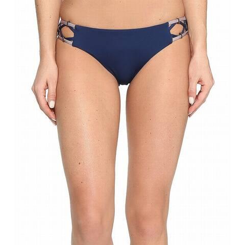 Dolce Vita Womens Swimwear Blue Large L Strappy Hardware Bikini Bottom
