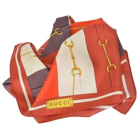 New Gucci Women's 367215 Rust Colorblock Horsebit Belt Silk Twill Neck Scarf