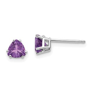 Link to 14K White Gold 5mm Trillion Amethyst Earrings by Versil Similar Items in Earrings