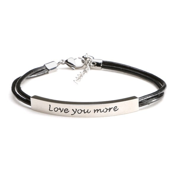 Women's Love You More Bracelet - Stainless Steel With Leather Cord - Silver