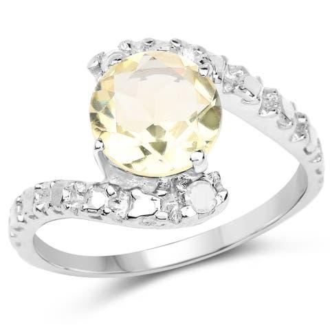 Olivia Leone Sterling Silver 2 1/3ct Genuine Lemon Quartz and Diamond Ring