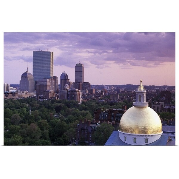 """State House dome and Back Bay, Boston, Massachusetts"" Poster Print"
