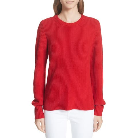 Tory Burch Women Sweater Red Size XL Kennedy Shaker Stitch Knitted Wool